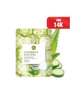 Mặt nạ dưa leo & lô hội Baby Bright Cucumber & Aloe Vera Serum Mask Sheet 20g